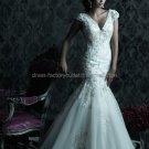 Cap Sleeves V-neck Bridal Ball Gown White Organza Beading Applique Mermaid Wedding Dress C221