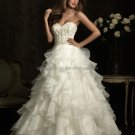 Strapless Sweetheart Bridal Ball Gown White Beading Draped Organza A-line Wedding Dress 63494
