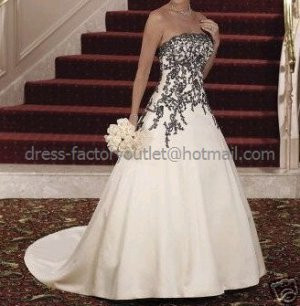 Strapless Bridal Gown Champagne White Satin Black Applique / Embroidery Beading A-line Wedding Dress