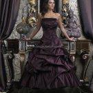 Strapless Bridal Gown Black Purple Beading Applique A-line Wedding Dress
