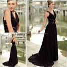 V-necline  Bridal Gown Ruffled  Black Chiffon Beading A-line Wedding Dress