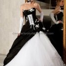 Gothic Strapless Bridal Ball Gown Black White A-line Wedding Dress Sz 2 4 6 8 10 12 14+Custom