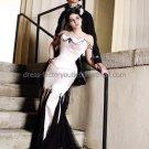 Gothic Strapless Bridal Ball Gown Black Lace White Satin Beading Mermaid Wedding Dress