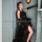 Sleeveless Bridal Ball Gown Tiered Black Organza Beading Side Slit Wedding Dress