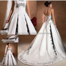 Strapless Bridal Ball Gown Silver Embroidery Black Beads A-line Wedding Dress