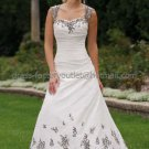 Strapless Bridal Ball Gown Embroidery Black Tulle Corset Top A-line Wedding Dress