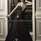 Spaghetti Straps Bridal Ball Gown Black Red  White Applique Beading A-line Wedding Dress