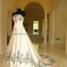 Strapless Bridal Ball Gown Black Embroidery Ivory Satin A-line Wedding Dress