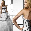 Strapless Bridal Ball Gown Black Applique White Organza  Beading A-line Wedding Dress