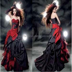 Strapless Bridal Prom Gown Red Black Halloween Dress A-line Wedding Dress Sz 4 6 8 10++