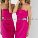 Strapless Short Bridesmaid Dress Fuchsia Satin Homecoming Dress Pleated Cocktail Dress