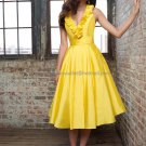 Halter Short Bridesmaid Dress Yellow Taffeta Homecoming Dress Pleated Cocktail Dress