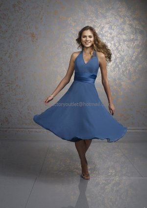 Halter Short Bridesmaid Dress Blue Black Chiffon Homecoming Dress Pleated Cocktail Dress