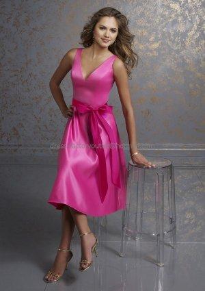 V-neckline Short Bridesmaid Dress Fuchsia Satin Homecoming Dress & Sash Cocktail Dress