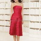Strapless Short Bridesmaid Dress Red Taffeta Homecoming Dress Pleated Beaded Cocktail Dress