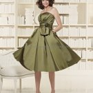 Strapless Short Bridesmaid Dress Dark Green Homecoming Dress Pleated Beaded Cocktail Dress