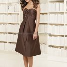 Strapless Short Bridesmaid Dress Brown Satin Homecoming Dress Pleated Beaded Cocktail Dress