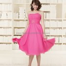 Strapless Short Bridesmaid Dress Pink Chiffon Homecoming Dress Pleated Beaded Cocktail Dress