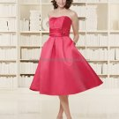 Strapless Short Bridesmaid Dress Red Satin Homecoming Dress Pleated Beaded Cocktail Dress