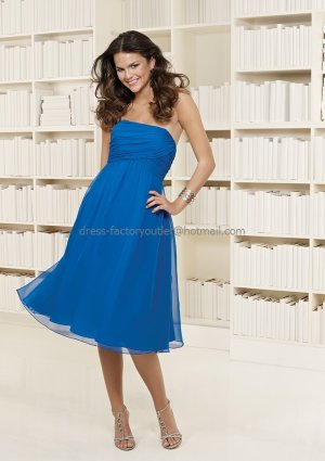 Strapless Short Bridesmaid Dress Blue Chiffon Homecoming Dress Pleated Beaded Cocktail Dress