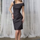 Off Shoulder Short Bridesmaid Dress Black Taffeta Homecoming Dress Pleated Sheath Cocktail Dress