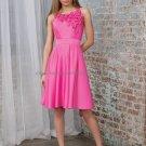 Round Neck Short Bridesmaid Dress Hot Pink Taffeta Homecoming Dress A-line Cocktail Dress