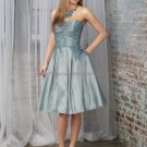 Strapless Short Bridesmaid Dress Steel Blue Taffeta Homecoming Dress Pleated A-line Cocktail Dress