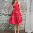V- Neck Short Bridesmaid Dress Red Satin Homecoming Dress A-line Cocktail Dress