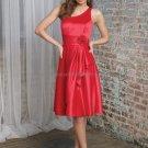 One Shoulder Short Bridesmaid Dress Red Satin Homecoming Dress A-line Cocktail Dress