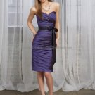 Strapless Short Bridesmaid Dress Navy Blue Evening Dress & Black Sash Pleated Sheath Cocktail Dress