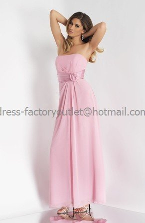 Strapless Long Bridesmaid Dress Pink Chiffon Pleated Bridal Evening Dress