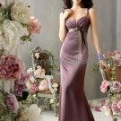 Thin Straps Long Bridesmaid Dress Brown Purple Satin Pleated Bridal Evening Dress