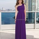 One Shoulder Long Bridesmaid Dress Purple Chiffon Pleated Bridal Evening Dress