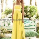A-line Halter Long Bridesmaid Dress Yellow Chiffon Pleated Bridal Evening Dress