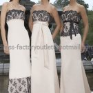 Straplesss Long Bridesmaid Dress Beige Satin Black Sash Lace Top Wholesale Bridal Evening Dress