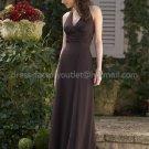 Halter V-neck Long Bridesmaid Dress Brown Pleated Floor Length Bridal Evening Dress