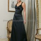 Sleeveless Thin 2 Straps Long Bridesmaid Dress Black Satin Cross Back Bridal Evening Dress
