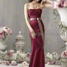 Strapless Long Bridesmaid Dress Purple Satin Beige Sash Mermaid Bridal Evening Dress