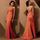 Spaghetti Straps Long Bridesmaid Dress Organge Coral Satin Mermaid Bridal Evening Dress