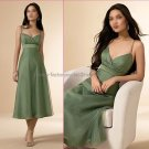 A-line Spaghetti Straps Short Bridesmaid Dress Olive Green Ankle Length Bridal Evening Dress