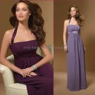 Halter Long Bridesmaid Dress Purple Periwinkle Chiffon Pleated Bridal Evening Dress