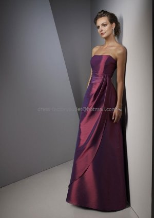 Strapless Long Bridesmaid Dress Purple Taffeta Beaded A-line Bridal Evening Dress