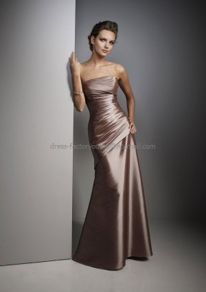 Strapless Long Bridesmaid Dress BrownTaffeta Beaded A-line Bridal Evening Dress
