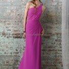 One Shoulder Long Bridesmaid Dress Purple Chiffon Sheath Bridal Evening Dress