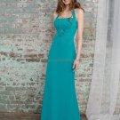 Halter Long Bridesmaid Dress Teal Blue Chiffon Sheath Bridal Evening Dress
