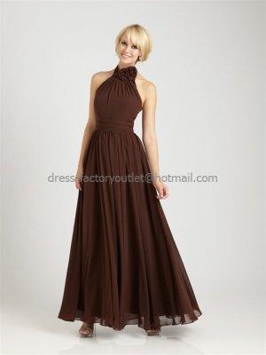High Choker Neck Long Bridesmaid Dress Coral Red Chiffon A-line Bridal Evening Dress
