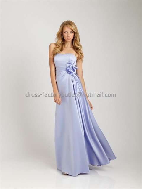 Strapless long bridesmaid dress blue periwinkle a line for Periwinkle dress for wedding