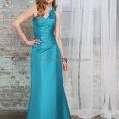 One Shoulder Long Bridesmaid Dress Turquoise Satin A-line Bridal Evening Dress