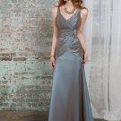 Sleeveless V- Neck Long Bridesmaid Dress Brown Blue Taffeta A-line Bridal Evening Dress MOQ 2 pieces