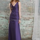 Sleeveless V- Neck Long Bridesmaid Dress Blue Satin A-line Bridal Evening Dress